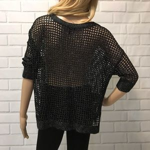 Express Tops - Chic fishnet dolman sleeve top